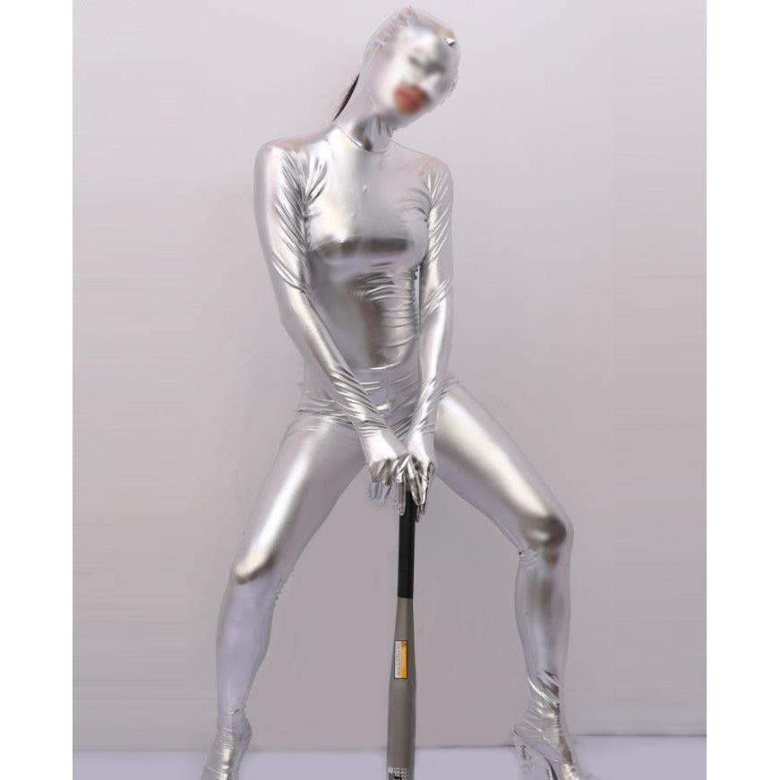 Размера плюс искусственная кожа, поэтапный показ Одна деталь колготки для танцев и сцены Косплэй, кофта с длинными рукавами, Zentai, костюм кош...