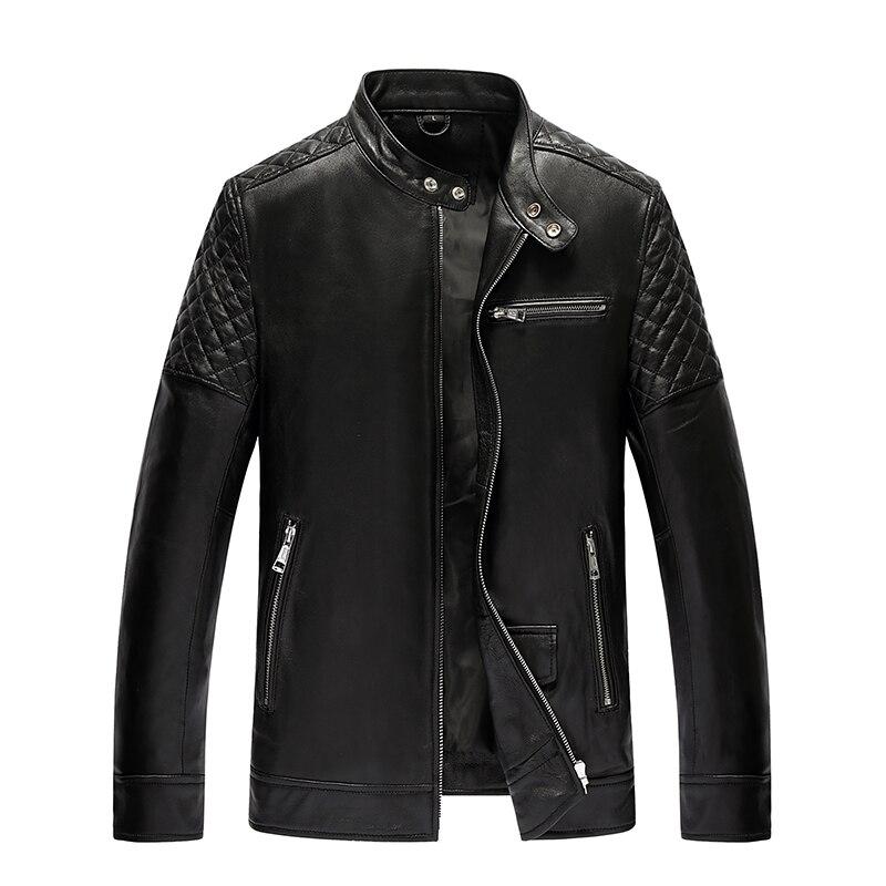 Men's Leather Jacket Autumn Winter Jacket Men Genuine Sheepskin Coat Motorcycle Jackets Plus Size 4xl 5xl Chaqueta 19-810 MY1664