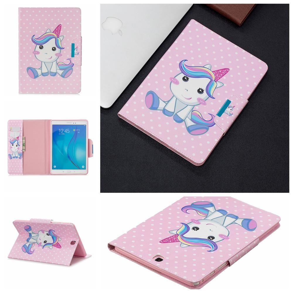 T550 T555 Tablet Case For Samsung Galaxy Tab A 9.7 SM-T550 SM-T555 2015 Kawaii Funda Unicorn Heart Cat Coque + Pen Caqa Cover