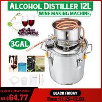 3GAL/12L Distiller Moonshine Alcohol Distiller Stainless Copper DIY Home Water Wine Essential Oil Brewing Kit