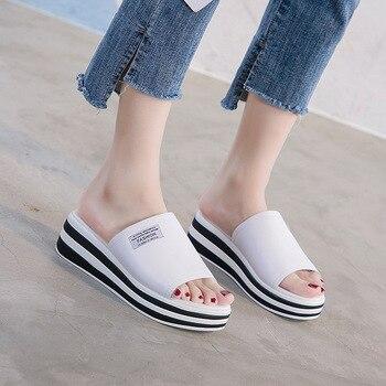 Outside Wear Cool Slippers Female Genuine Leather Simple Joker Female Sandals Flat Bottom Leisure Sandals One Word Drag Women's