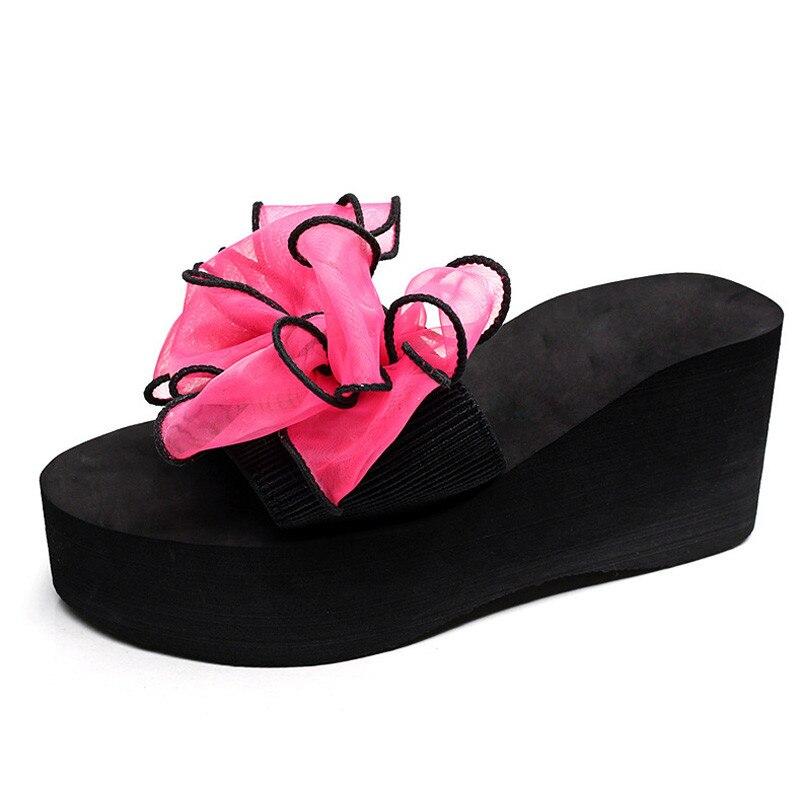 Platform Wedges Sandalias Slides Beach-Shoes High-Heels Bohemian Summer Bow Mujer XKD8017