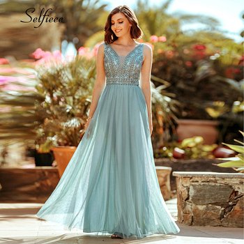 Elegant Women Dress A-Line Beaded Double V-Neck Sleeveless Tulle Maxi Dress Sexy Embroidered Long Party Dress Vestidos 2020