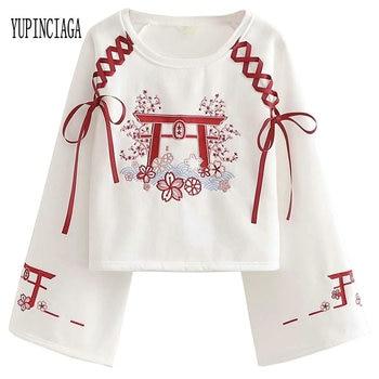 YUPINCIAGA Japan Style Mori Women's Embroidery Lace Up Plus Velvet Short Sweatshirt Long Sleeve Harajuku Pullovers Femme lace up velvet teddy
