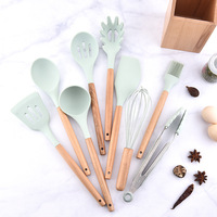 1SET Fresh blue silicone kitchenware set Japanese style wooden storage cylinder kitchenware 9 piece set spatula spoon set|Cooking Tool Sets| |  -