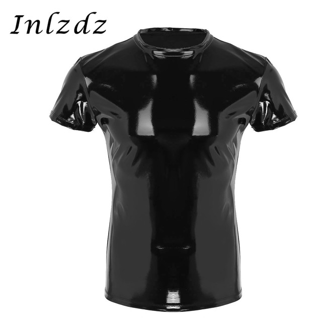 Męska bielizna koszula lateksowa Top Wetlook skórzana koszula Tank Clubwear egzotyczny Gay Homme kostium na seks mięśni mocno T-shirt