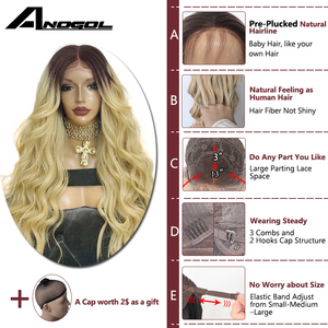 """Image 3 - Anogol Dark Roots Ombre Blonde Long Body Wave 24"""" Heat Resistant Hair Wig Synthetic Lace Front Wigs For Black Women"""