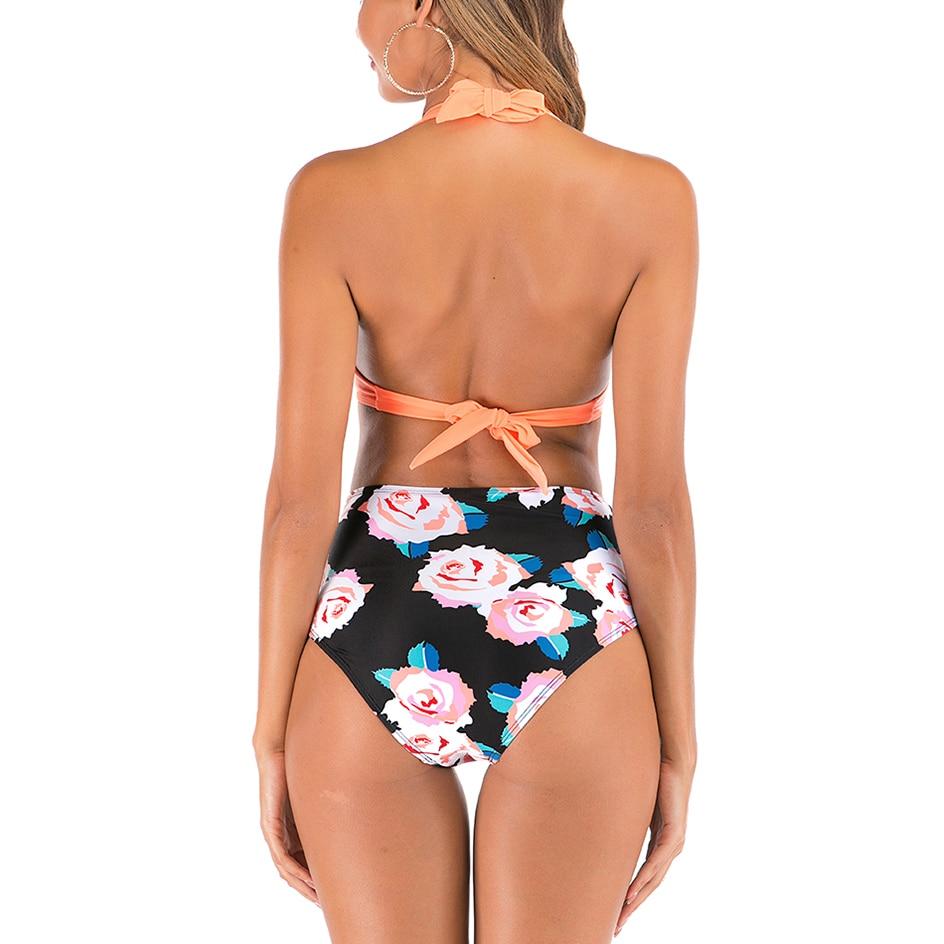 High Waist Bikinis Set Swimsuit Women 2020 Summer Bikini Push Up Halter Black Swimwear Women Bathing Suit Plus Size Swimwear 3XL 1