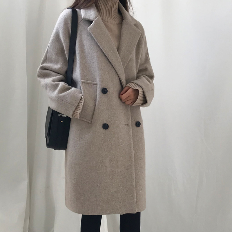 Minimalist Winter Long Jacket Women Coats Korean Leisure Oversize Woolen Coat Large Size Knee Length Ladies Coats Black Grey