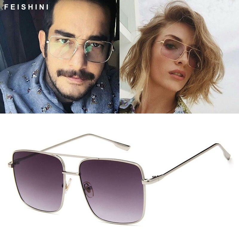 Original Fashion Oculos Metal Oversized Square Glasses Frame Women Vintage Brown Ladies Sunglasses For Men Transparent Eyewear