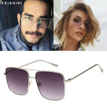 Original Fashion Oculos Metal Oversized Square Glasses Frame Women Vintage Brown Ladies Sun
