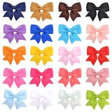 20pcs/Lot Grosgrain Ribbon Bow Hairpin Girl's Hair Bows Boutique Solid Hair Clip Handmade Bowknot Clip For Kids Hair Accessories