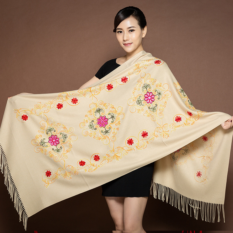 Autumn And Winter Air Conditioning Shawl Dual-use Embroidery Flower Natal Year Scarf Female Spring And Autumn Wild Long