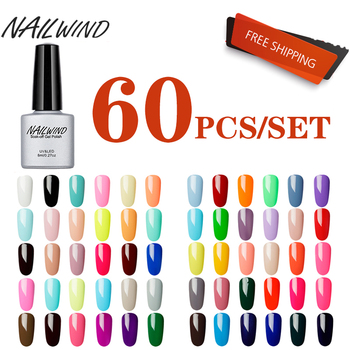 NAILWIND 60PCS/SET Gel Nail Polish Nail Set For Manicure Kit Gel Varnishes Semi Permanent Lucky Pure Color Series UV