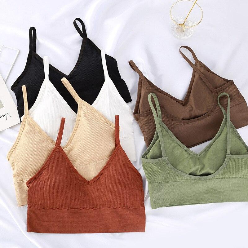 Sports Bra Women Mini Vest Seamless Tube Top U-shaped Halter Strap Bra with Chest Pad  QL Sale