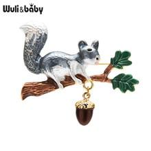 Wuli & baby-broches cuadrados de esmalte para mujer, animales de 2 colores, pino Nuts, mascotas, fiesta, oficina, broche informal, regalos
