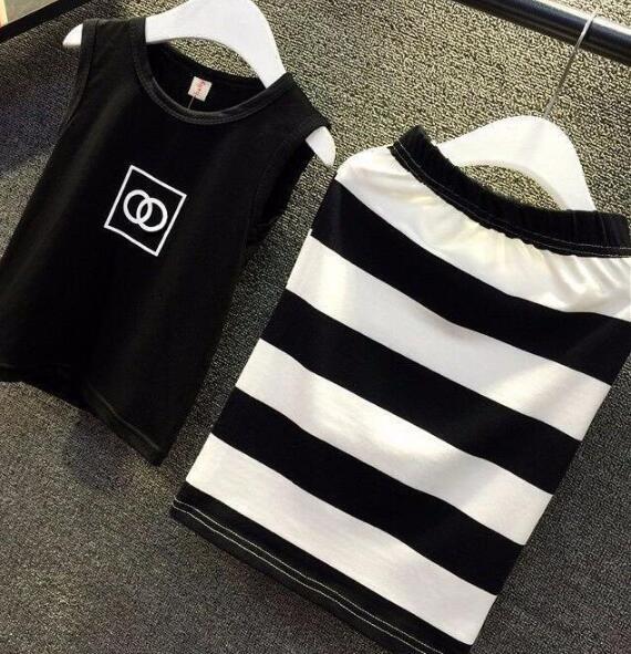 MERI AMMI/комплект одежды из 2 предметов, комплект для малышей, черный топ+ рубашка в полоску, облегающая модная одежда, облегающий наряд для девочки 2-9 лет, J556 - Цвет: Черный