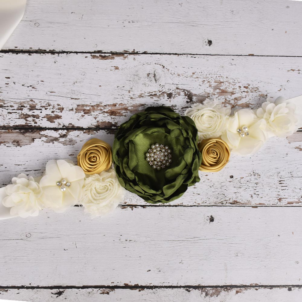 Olive/gold Flower Sash Wedding Bridal Floral Waistband Maternity Sash Pregnancy Belly Belt Baby Shower Party Accessory