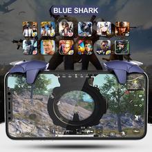 2pcs lot Shark Design For PUBG Mobile Gamepad Joystick L1R1 Mobile Phone Game Shooter PUBG Controller Trigger Fire Button Handle cheap Shark Design Game Trigger Apple iPhone