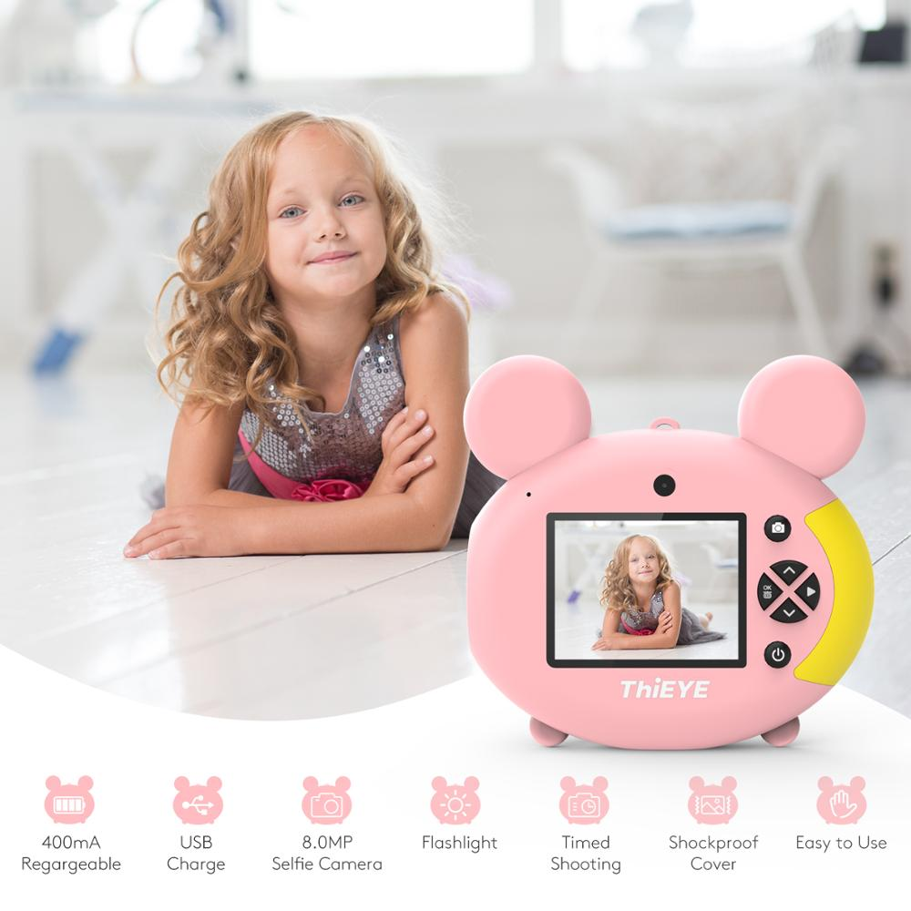 ThiEYE Kiddy 2 Kids Mini Camera Toy Cute Rechargeable Digital Camera with 2 Inch Display Screen Children Educational Toy Play-in Sports & Action Video Camera from Consumer Electronics    1