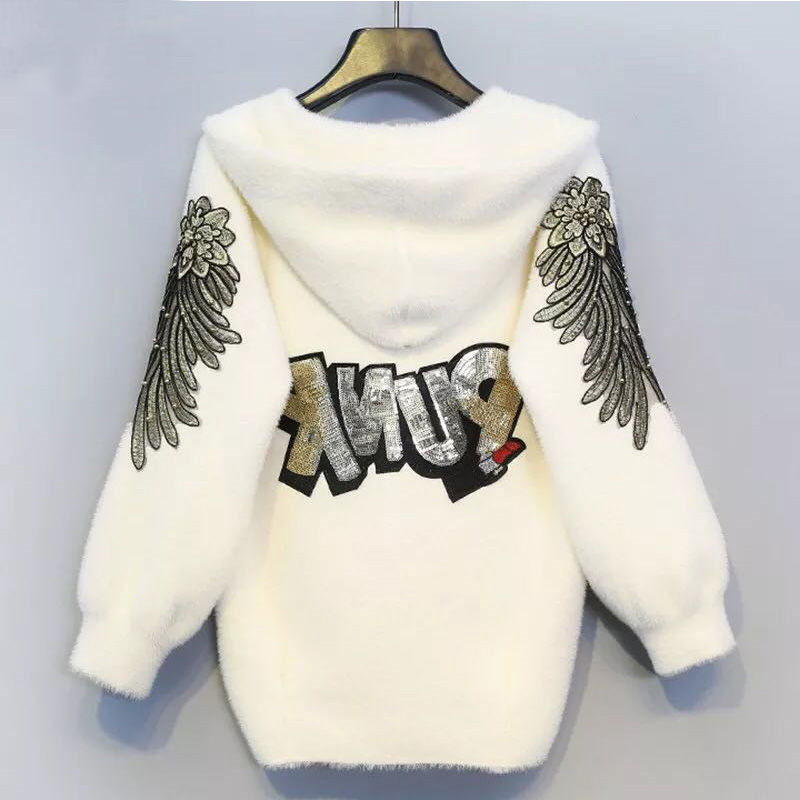 2019 Female Autumn And Winter Models Short Hooded Jacket Long-sleeved Solid Color Embroidery Letter Knit Cardigan Sweater Women