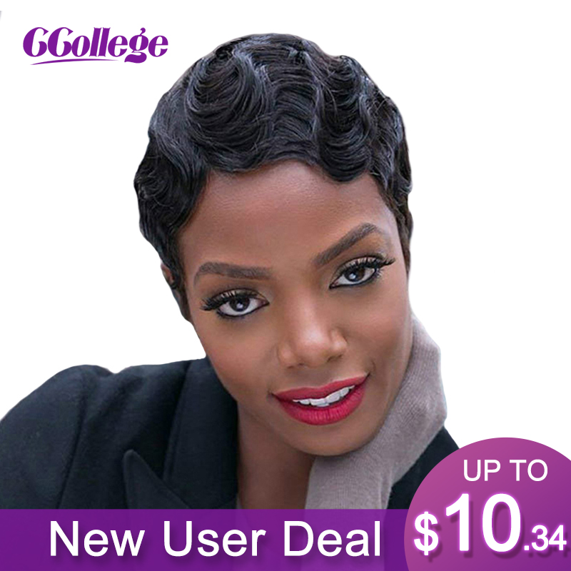 Ccollege Finger Wave Wavy 100% Remy Human Hair Pixie Cut Wig Peruvian Short Bob Wigs For Black Woman Non Lace Closure Frontal
