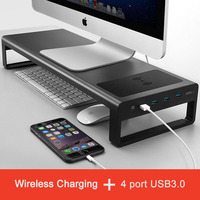 Aluminum Alloy Laptop Monitor Holder Stand with USB3.0 / wireless charge Riser Desktop Display Bracket for Notebook/PC Monitors