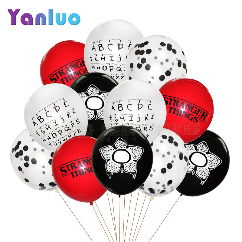 Balões de látex stranger things, balões de látex para festas de aniversário infantil, decoração de chá de bebê, suprimentos para festas, globos, 10 peças