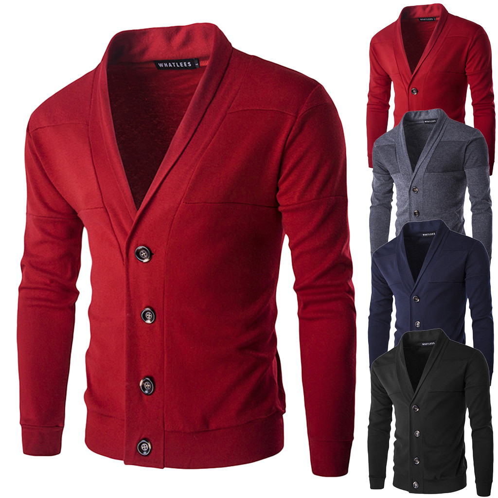 Men's Sweater Cardigan Fall Winter Warm Pullover Cardigan V-Neck Button Knit Sweater Top Y11.21