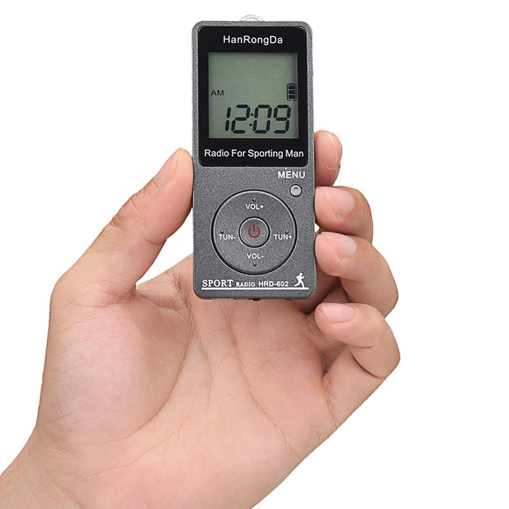 HRD-602 Portatile Ricevitore Radio FM/AM Radio Display LCD Pulsante di Blocco Pocket Radio con Trasduttore Auricolare di Sport Pedometro