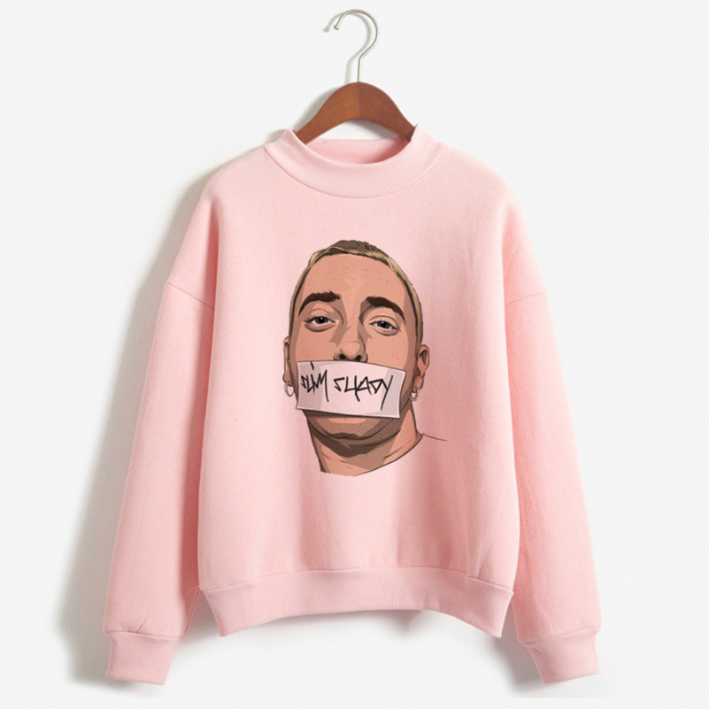 2019 Newest Autumn Eminem Funny Print Hoodies Women Clothes Fashion Vintage Hoodie Womens Clothing 90s Harajuku Pink Sweatshirt