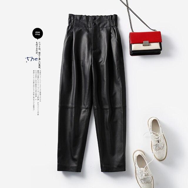 Genuine leather pants women winter 2020 new fashion elastic high waist pants women plus size  harem pants casual trouser female 3