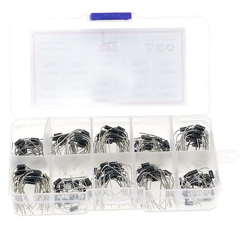 200pcs 10Values x20 Rectifier Diode Schottky Assortment Electronic Kit 1N4001~1N4007 1N5817 1N5818 1N5819 With Storage Box