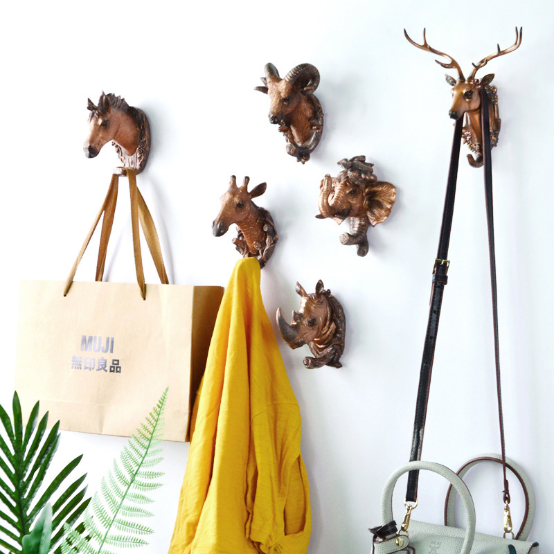 Hook Multifunctional Animal Head Decoration Hook Decoration Hook Bathroom Coat Hook Wall Decoration Behind The Door Hook