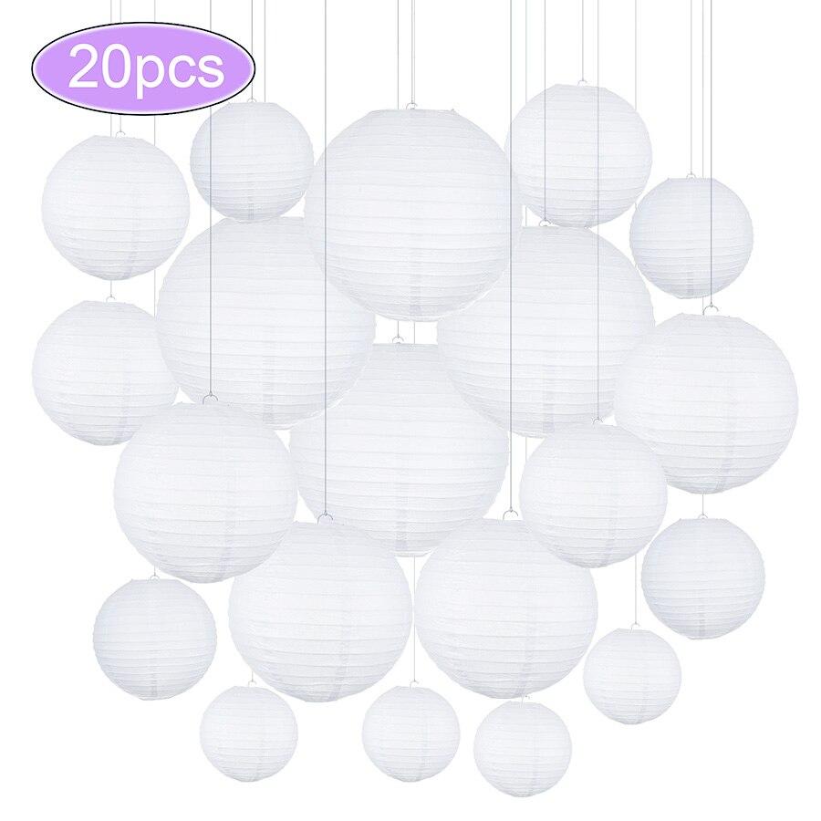 20 шт./лот 4, 6, 8, 10, 12 дюймов, разные размеры, белая Китайская Бумажная лампа, подвесной шар, свадебное украшение, бумажные фонари, праздничный Д...