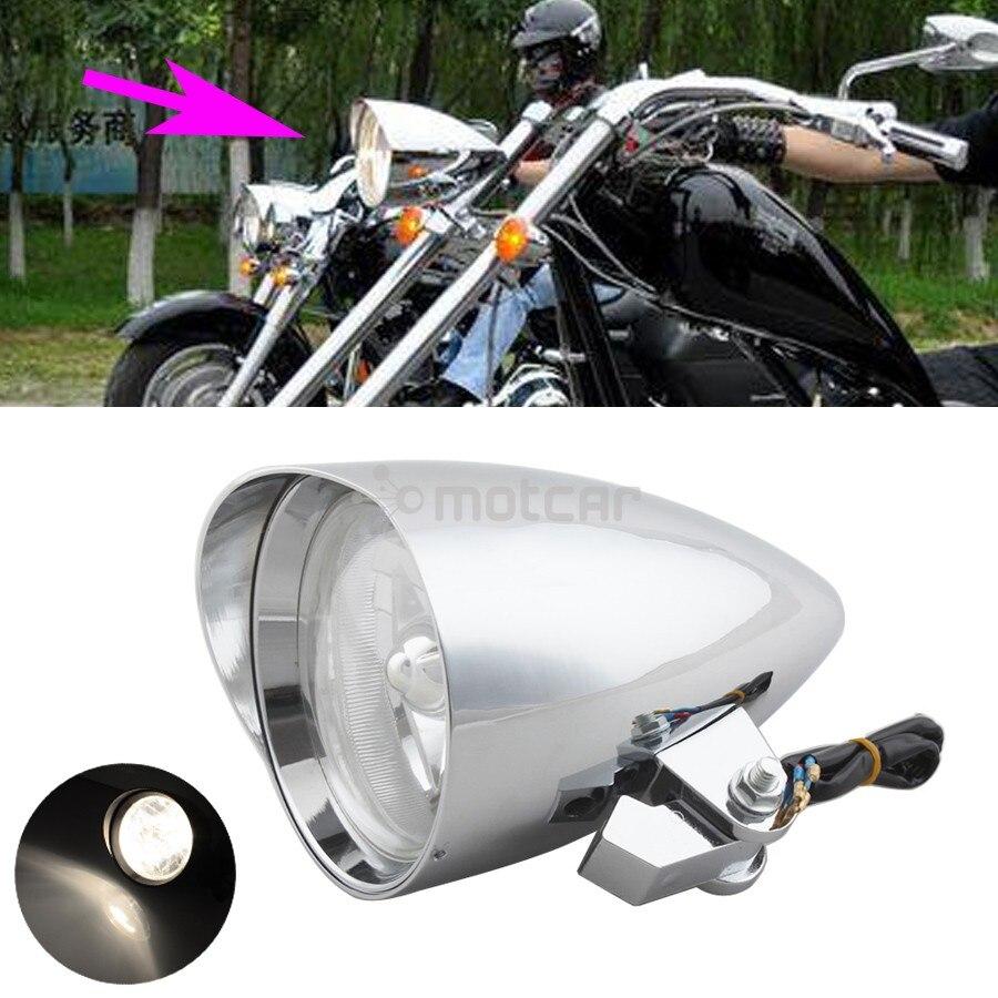 Chrome Full Metal Hi/Low Been Amber Lights Visor Bullet Headlight Lamp Clear Lens 4.7