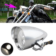 "Chrome Full Metal Hi/Low Been Amber Lights Visor Bullet Headlight Lamp Clear Lens 4.7"" for Harley Bobber Chopper 10mm"
