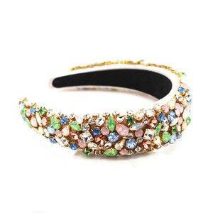 Image 5 - Barocco moda di lusso temperamento spugna della perla del rhinestone selvatica fascia riprese di strada di personalità di promenade accessori per capelli 757