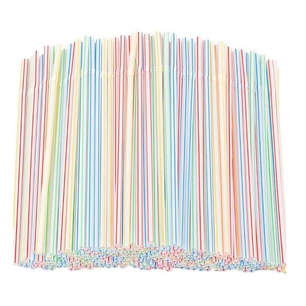 600 pièces pailles jetables pailles en plastique flexibles rayé Multi couleur arc-en-ciel pailles à boire paille barre accessoires outils de cuisine