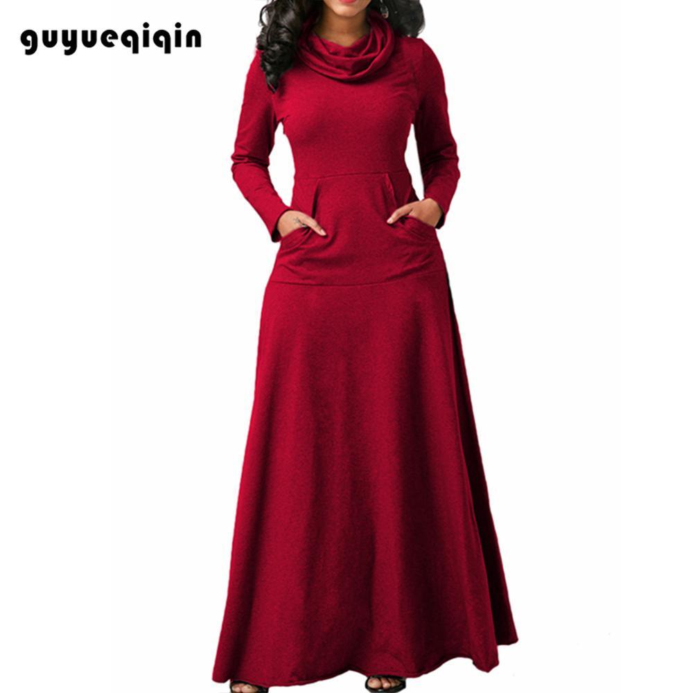 autumn dress women long sleeve maxi vintage winter robe plus size