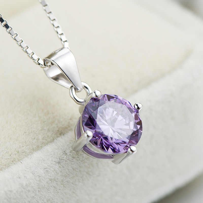 Clavícula Colar de Pingente de Prata esterlina Zircão Diamante 4 Dentes Pingente de Jóias para As Mulheres 18K Banhado A Ouro