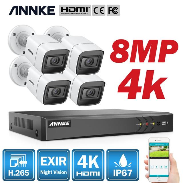 ANNKE 4K Ultra HD Video Surveillance Camera System 8CH 8MP H.265 DVR With 4PCS 8MP Outdoor Weatherproof Security Camera CCTV Kit