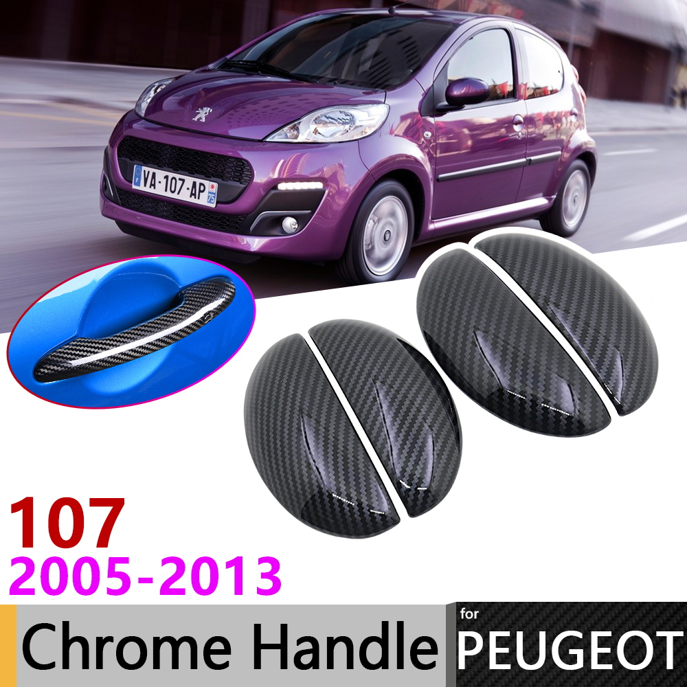 Black Carbon Fiber Door Handle Cover For Peugeot 107 2005~2013 2008 2009 2010 2011 2012 Car Accessories Stickers Trim Set Chrome