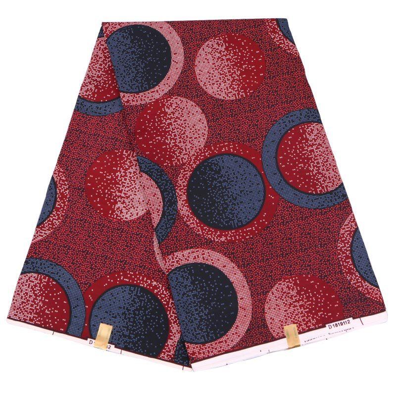 Ankara Classy Design Wax Fabric Maroon Color Circle Printed Holland Fabrics For Lady 6Yards\lot