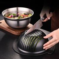 Kitchen Salads Tool Vegetable Salad Maker Fruit Cut Bowl Openwork Drain Stainless Steel Fruits Divider Cutter Washing Strainer