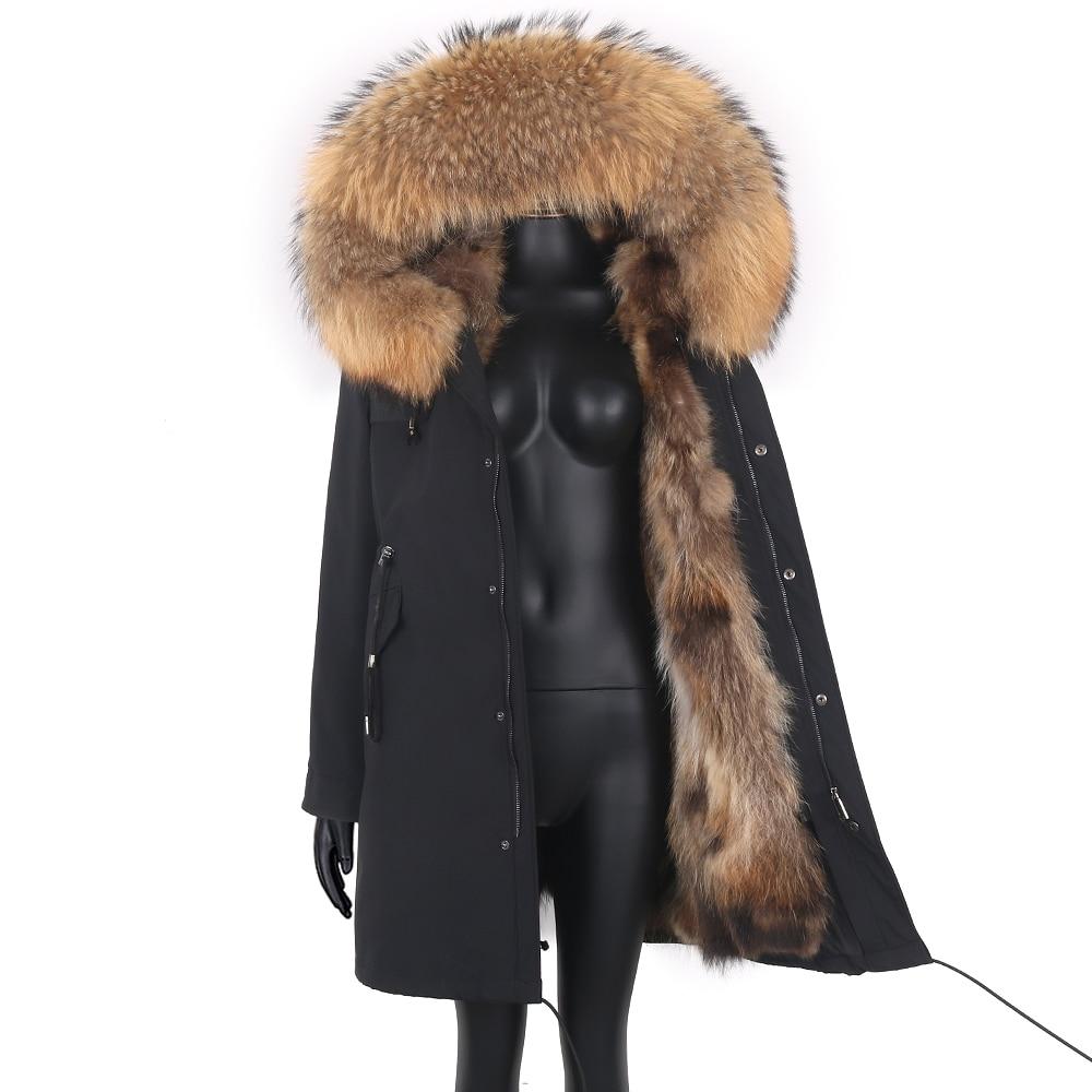 Women 7xl Fox Fur Coat Parkas Winter Jacket Coat Waterproof Parka Big Real Fur Collar Natural Fox Fur Liner Long Outerwear 1