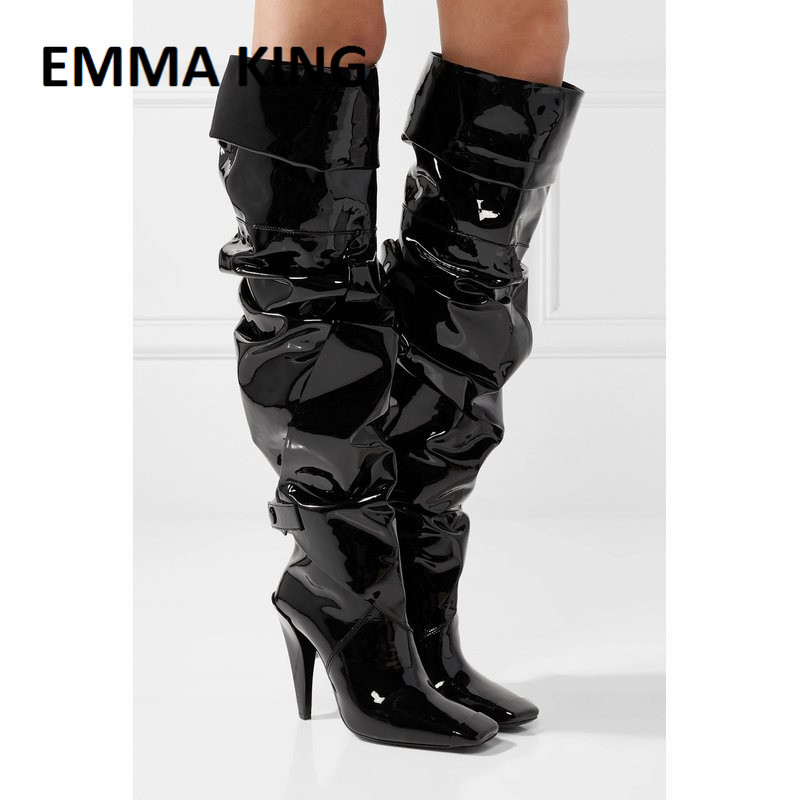 EMMA KING 2019 Shiny Gladiator Women Boots Black Over the Knee Boots Sexy Female Autumn Winter lady Thigh High Boot Large Size