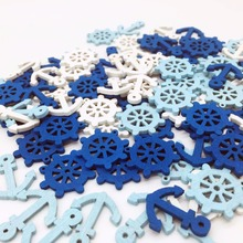 100pcs Mediterranean style Wooden Mini Sea Boat Rudder/Anchor Nautical Craft Home Embellishments DIY Sewing Buttons