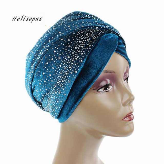 Clearance Women Velvet Turban Long Head Wraps Scarf Luxury Drill Hat Cap Hijab Muslim HeadScarf Hair Accessories Dropshipping