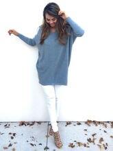 Женский вязаный свитер с круглым вырезом Свободный пуловер большого